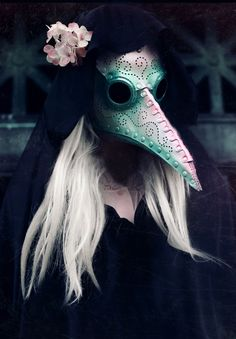 Pearlescent Plague Doctor leather mask in white, pink and green by TomBanwell on Etsy https://www.etsy.com/listing/206159348/pearlescent-plague-doctor-leather-mask