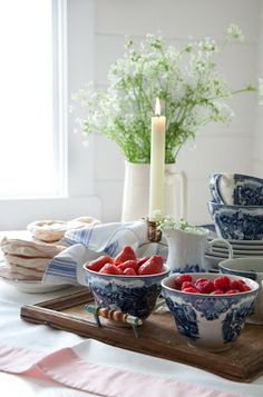 Berries look so pretty in blue and white china