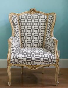 graphic print wood frame chair