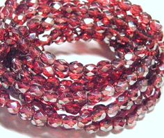 Sale   6mm Faceted Round Czech Glass Beads 30 by vintagebeadery