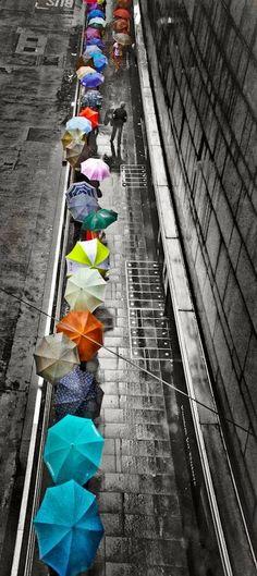 A splash of color in the rain! I would be the guy with no umbrella enjoying the rain. Umbrella Art, Under My Umbrella, Purple Umbrella, Color Splash, Color Pop, Colour Black, Fotografie Portraits, I Love Rain, Foto Poster
