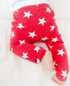 219aac289c1781 Baby/Toddler/Kids Leggings - Girls/Boys Red With White Stars.Emma's  Bambino.Handmade From Quality Stretch Cotton. Neutral Boys And Girls.