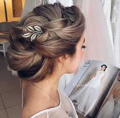 Bridal Hairstyles Inspiration : Head piece with romantic up do