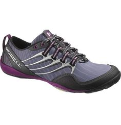 """""""Barefoot"""" waterproof trail running shoes. With Purple soles. Nice."""