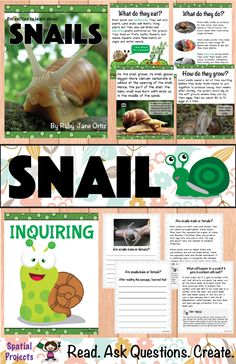 All About Snails Nonfiction Unit by Spatial Projects Writing Activities, Teaching Resources, Preschool Activities, Snail Life Cycle, Pet Snails, Snail Craft, Expository Writing, Opinion Writing, Text Features