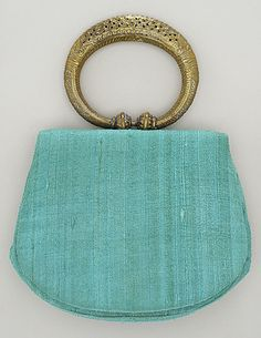 Silk handbag with brass, plastic, and glass fixings, by Neiman Marcus, mid-20th C.