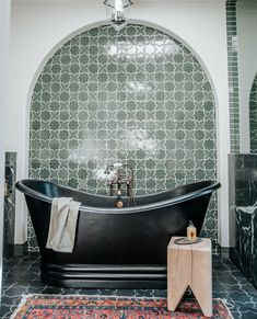 """Fireclay Tile on Instagram: """"Treat yourself to a different kind of bubbly 🛁 🍾 Make time for me-time in this indulgent main bathroom at #HardingHouse, designed by…"""" Bathroom Inspo, Bathroom Inspiration, Copper Tub, Fireclay Tile, Fire Clay, Me Time, Just Go, Master Bath, New Homes"""