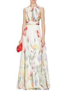 Floral Silk Pleated Bodice Gown from Badgley Mischka Eveningwear on Gilt