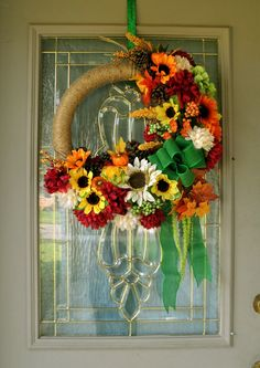 Large Fall Floral Wreath for Front Door, Farmhouse Wreath, Fall Decoration, Autumn Decoration, Sunflower Wreath, Large Wreath, Fall Decor