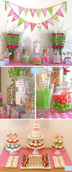 LOVE this idea for a little girls birthday party!!! Candy bar/cupcake bar