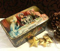 Best Friend Gift, Friendship Gift, The Gossips, Antique Tin Box, 1800s Ladies, Art Nouveau, Art Deco, 1910s, 1920s, Decorative Tin Box