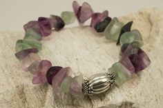 Selected Natural Chunky Rainbow Fluorite Bracelet with Handmade Designer Sterling Silver Bead on Stretch Cord by BlueFoxy on Etsy
