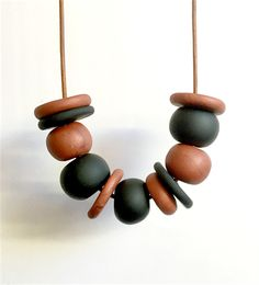 Copper and Black Polymer Clay Necklace