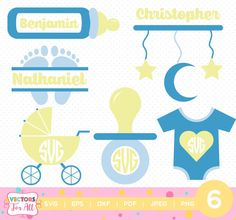New Born Baby Monogram SVG, New Born Baby Monogram Font, SVG Files, Baby Decoration Silhouette Cut Files, Cricut Cut Files by VectorsForAll on Etsy
