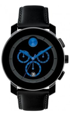-Black, Blue and Silver Movado Watch