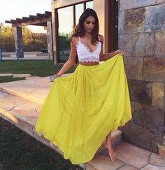 Lace Prom Dresses, Yellow A-line/Princess Prom Dresses, Long Yellow Evening Dresses, 2 pieces prom dress Lace Chiffon V-neck Long Prom Dress Evening Dress Mode Outfits, Chic Outfits, Summer Outfits, Summer Dresses, Holiday Dresses, Summer Fashions, Beach Outfits, Fall Outfits, Look Boho