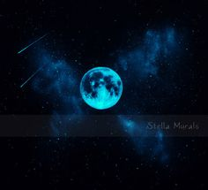 Star Mural with Glow in the Dark Moon   Self-Adhesive wall or ceiling mural   Stella Murals Glow Decal by StellaMurals on Etsy https://www.etsy.com/listing/246633039/star-mural-with-glow-in-the-dark-moon