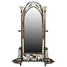 wrought iron mirror   French Art Deco Wrought Iron Cheval Mirror Attributed to Paul Kiss ...