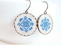 Cross stitch earrings Ethnic ornament in navy blue by skrynka, $24.00