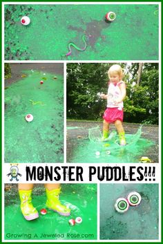 Monster puddle stomping- so awesome!  Simple to set up too!  Rainy day puddle surprises like this one really make rainy days fun!