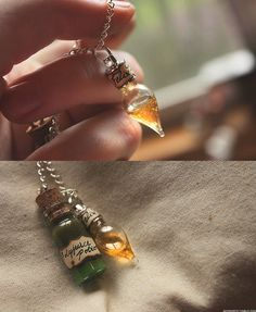 DIY Harry Potter Potion Pendant Necklaces. The Polyjuice is shampoo, olive oil and food dye and the Liquid Luck is honey, water and glitter