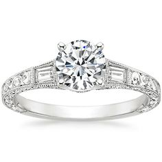 The band detailing is so pretty!  18K White Gold Regalia Diamond Ring from Brilliant Earth