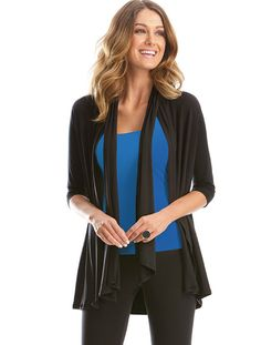 Intimo cardigan option in black. Beautiful soft material. #rectanglebody