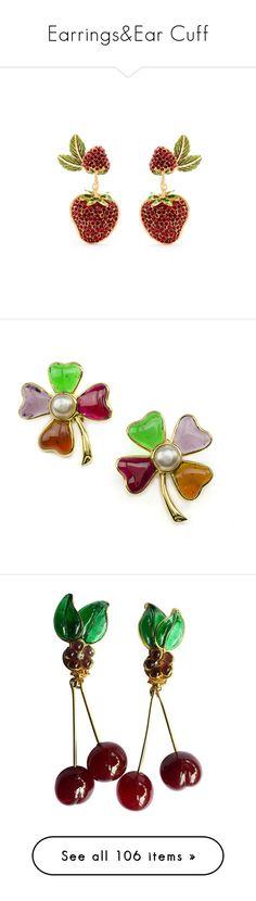 """Earrings&Ear Cuff"" by taught-to-fly19 on Polyvore featuring jewelry, earrings, red, leaf earrings, dolce gabbana jewelry, engraved jewelry, engraved earrings, red clip earrings, pearl earrings e fake pearl earrings"