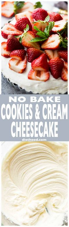 No Bake Cookies and Cream Cheesecake - Fast and easy no bake cheesecake prepared with a delicious chocolate cookie crust and a lightened-up and creamy cheesecake filling. Fun Easy Recipes, Best Dessert Recipes, No Bake Desserts, Easy Desserts, Holiday Desserts, Candy Recipes, Healthy Desserts, Summer Recipes, Cookies And Cream Cheesecake