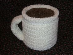 """Cup 'O Coffee TP Roll Cover  Finished size: Cover will fit a """"double"""" size roll of toilet tissue.  Materials: (US) size J hook; small amoun..."""