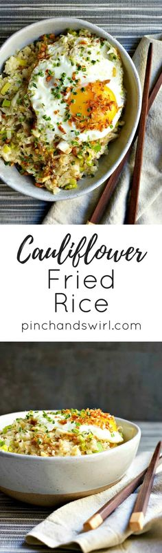 Easy Cauliflower Fried Rice! A Paleo and Whole30 friendly version of classic Fried Rice! #cauliflower #paleodiet #paleohacks #friedrice #whole30recipes #whole30approved