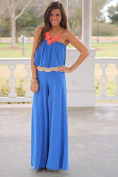 """HOLY SMOKES we are all dying over this jumpsuit!! The stretchy material makes this one super comfy and the cinched waistline makes for a flattering fit:) Just toss on wedges or even gladiator sandals to top it off!   Fits true to size. Miranda is wearing the small.  From shoulder to hem:  small-51""""  medium-52  large-53"""