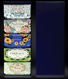 A gift box of five hand soap bars from Claus Porto $55.00