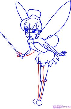 learn how to draw tinkerbell step 6