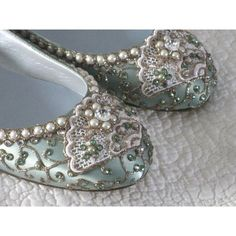 Cinderella's Slipper Bridal Ballet Flats Wedding Shoes - Any Size - Pick your own shoe color and crystal color found on Polyvore