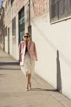 Winter Pastels | Deco Tartelette...tulle skirt, pink wool coat, french braid #anthropologie @anthropologie @alexandragrecco