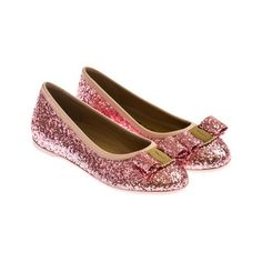 Salvatore Ferragamo Girls Pink Glitter Shoes With Bow ($335) ❤ liked on Polyvore featuring kids and girls