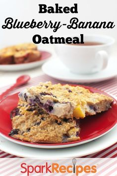 Baked Oatmeal with Blueberries and Bananas. YUM--awesome alternative to regular oatmeal!| via @SparkPeople #breakfast #oatmeal #healthy #recipe