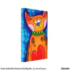 Cute Colorful Cartoon Cat Big Heart Canvas Print
