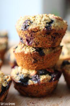 """Blueberry """"Super Power"""" Muffins - vegan, gluten-free, and low sugar. These will fuel you all day!"""