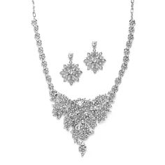 Crystal Statement Necklace Set for Weddings by Mariell - Affordable Elegance Bridal -