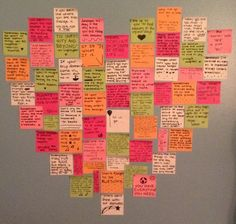 Write favorite quotes on post-it& put them on your wall in the shape of a heart. Look at it whenever you& having a bad day and you will instantly feel happier Birthday Gifts For Boyfriend Diy, Cute Birthday Gift, Boyfriend Gifts, Homemade Valentines, Valentine Gifts, Post It Art, Anniversary Ideas For Him, Small Acts Of Kindness, Motivation Wall