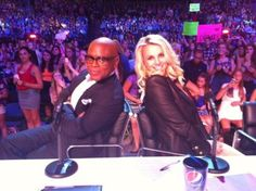 Britney Spears and L.A. Reid on the set of The X Factor USA
