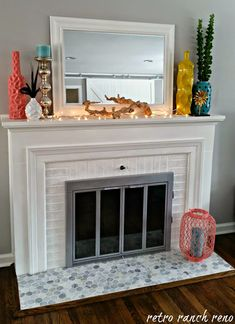 paint brass fireplace doors. Painting old brass firescreen platinum instead of black  retroranchrenovation blogspot com How to update a fireplace surround Four Generations One