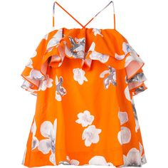 MSGM floral frill halterneck blouse (£320) ❤ liked on Polyvore featuring tops, blouses, flounce tops, orange blouse, flower print blouse, floral blouse and flutter-sleeve top