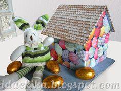 Casa de coelhinho da Páscoa - cartonagem - Easter Crafts