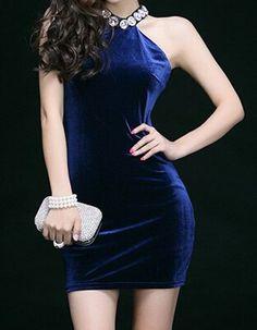 Elegant Halter Neck Off-The-Shoulder Solid Color Rhinestoned Dress For WomenBodycon Dresses   RoseGal.com