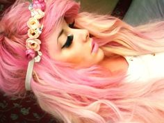 I love everything about this hair! The pink, the flower band and the cut