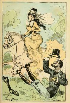 'La grande mascarade parisienne: Une vie de Polichinelle'. Première entrevue avec Mme de Champbadour. By Albert Robida, 1896