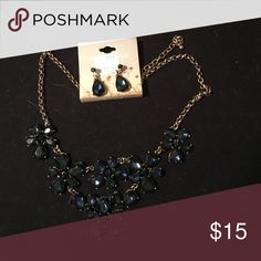 Necklace and earring set Navy blue jeweled necklace and matching earrings Justin & Taylor Jewelry Necklaces